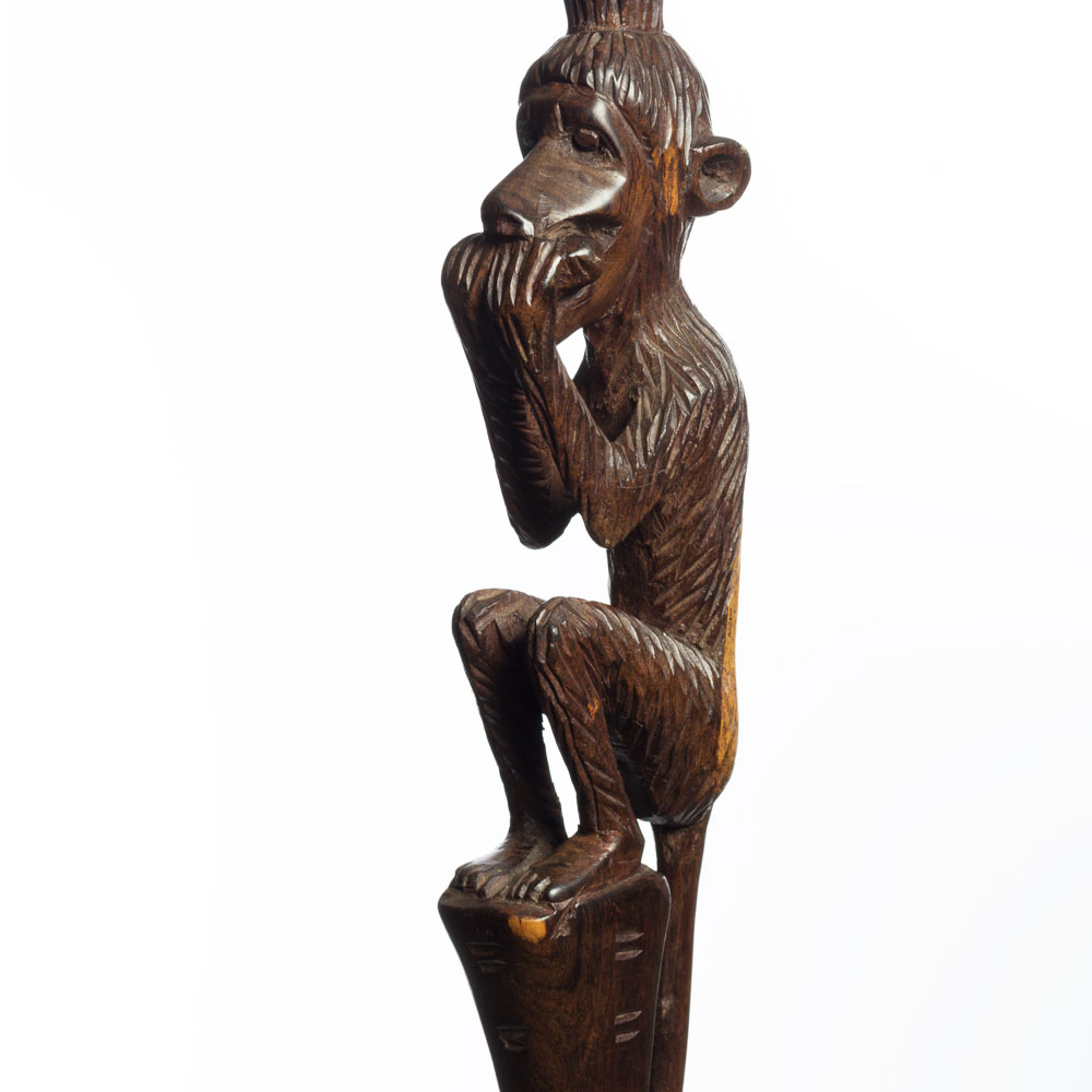 african walking cane with sitting monkey